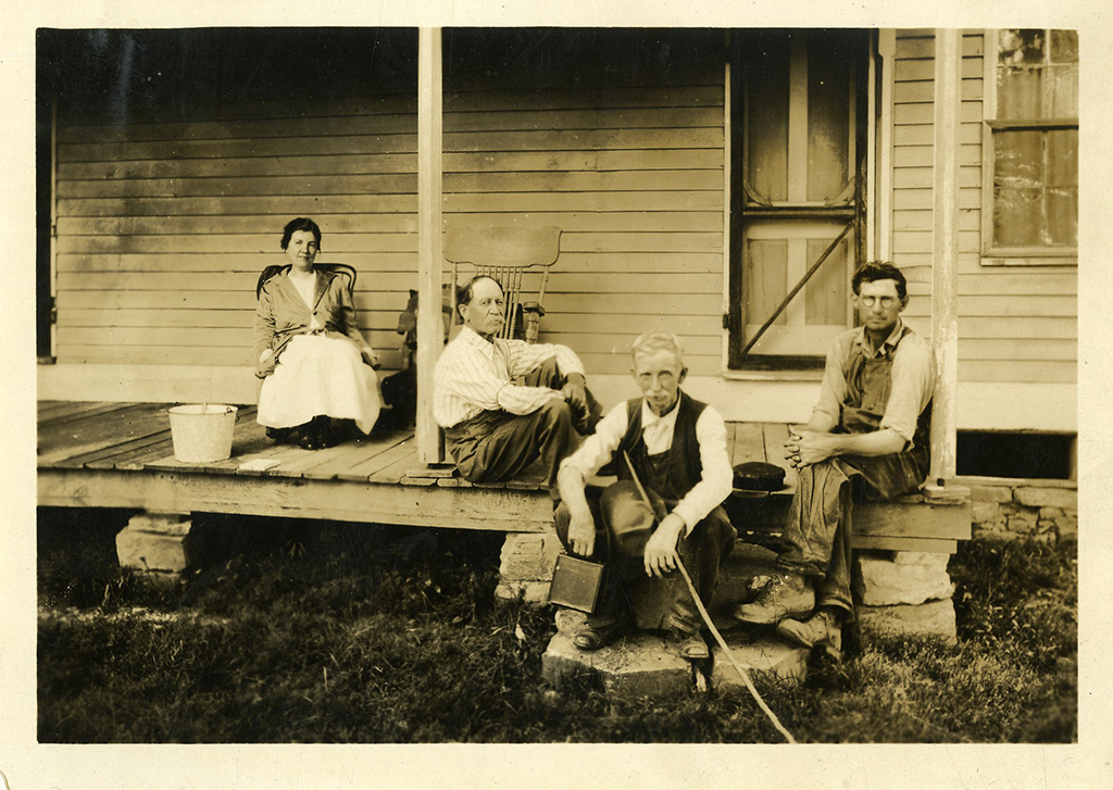 Laura Ingalls Wilder, Almanzo Wilder (back to front) at their home with neighbors. ca.1929.