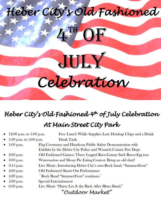 Heber Celebrating Old Fashioned Fourth Of July At City Park Kpcw