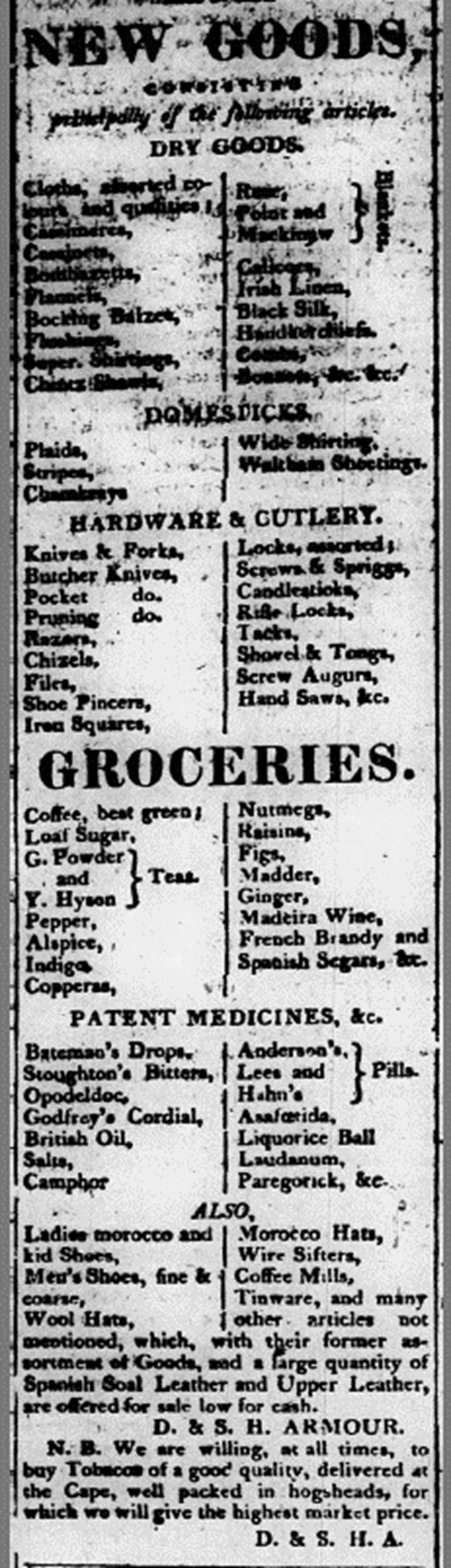 Missouri Bicentennial Minutes: Merchandise in 1821 Grocery Stores (Part 2)