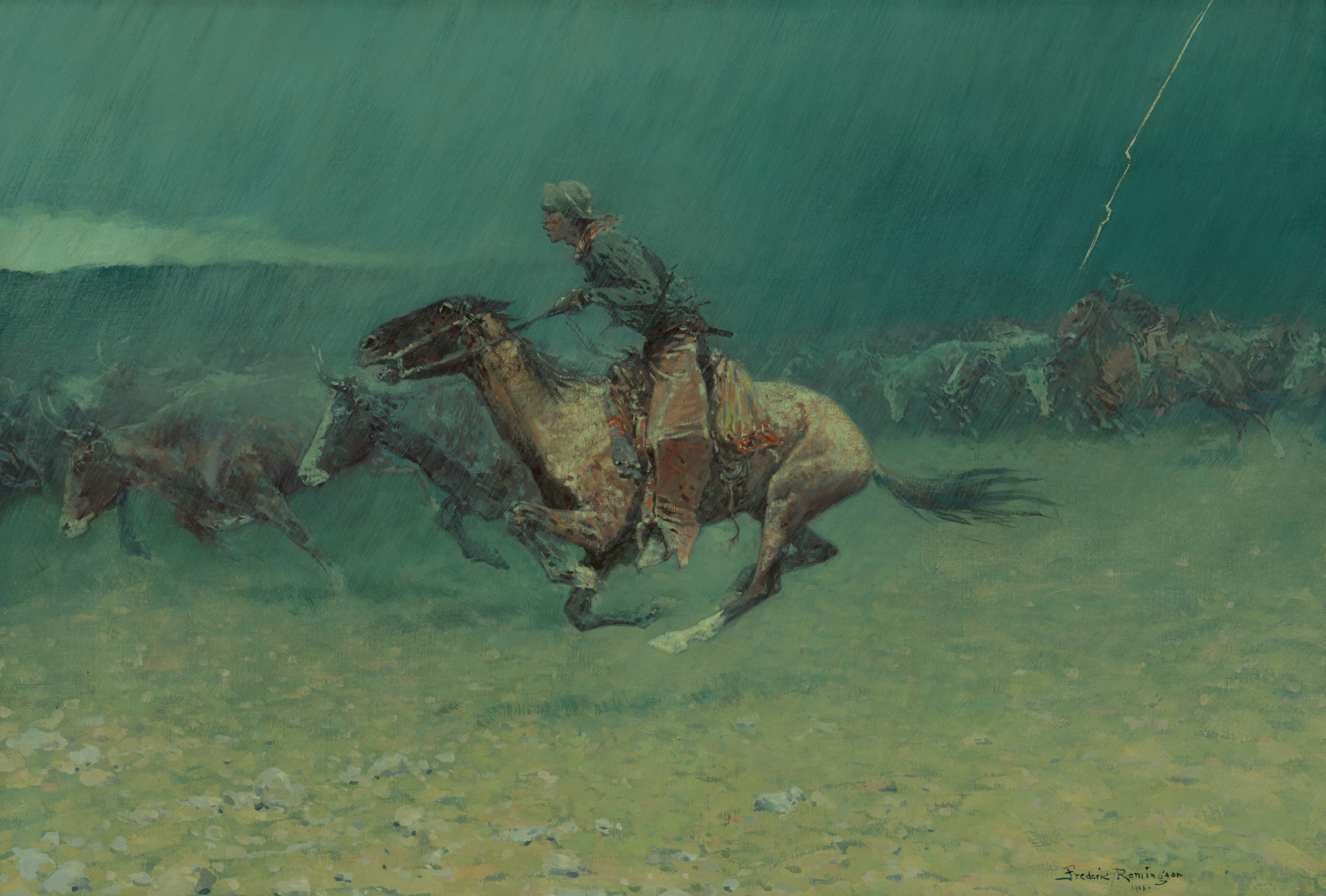 frederic remington  the stampede  1908.'