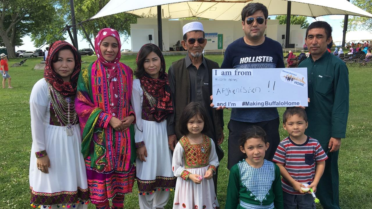 group of refugees from Afghanistan celebrate International Refugee Day in Buffalo
